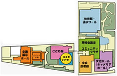 松山市総合コミュニティーセンター内コミュニティープラザ案内図